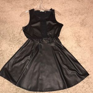 Lace and leather look dress